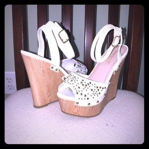 """ShoeDazzle """"Yesenia"""" Platform Studded Wedge Sandal"""